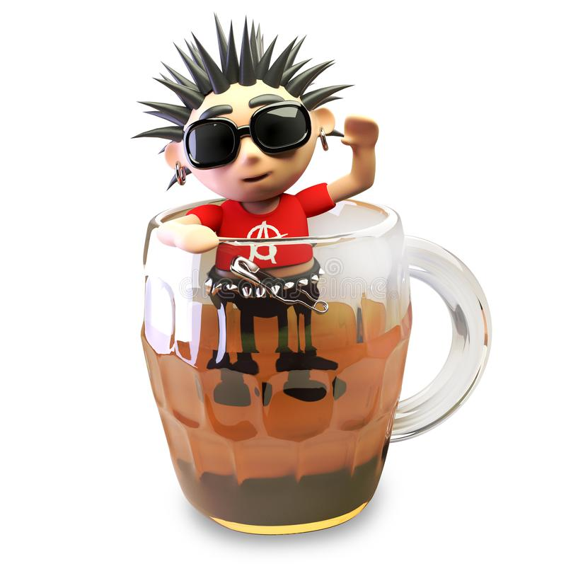 Rocker punk 3d ivre avec des tentatives de cheveux de spikey de s'élever hors d'une pinte de bière, illustration 3d illustration de vecteur