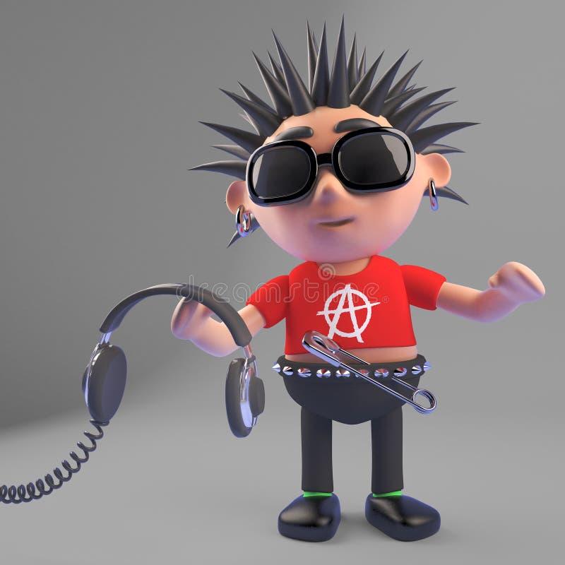 Rocker punk de bande dessinée tenant des paires d'écouteurs, illustration 3d illustration de vecteur