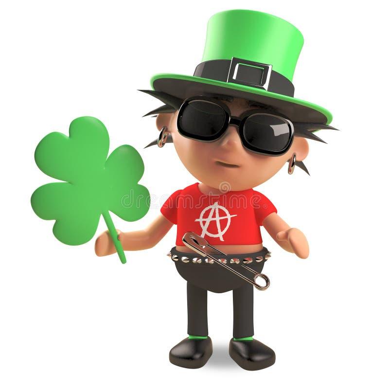 Rocker punk de Lucky Irish avec des cheveux de spikey utilisant un chapeau vert de lutin et tenant l'oxalide petite oseille, illu illustration stock