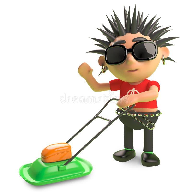 Rocker punk en épi de bande dessinée déplaçant la pelouse avec une tondeuse à gazon, illustration 3d illustration libre de droits