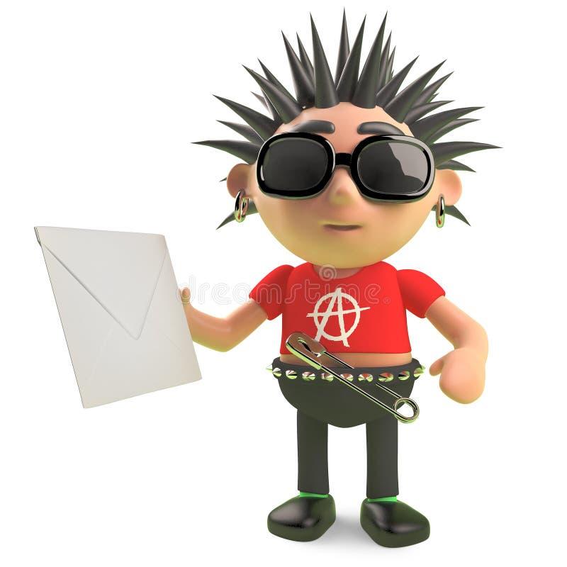 Rocker punk en épi drôle tenant une enveloppe, illustration 3d illustration de vecteur