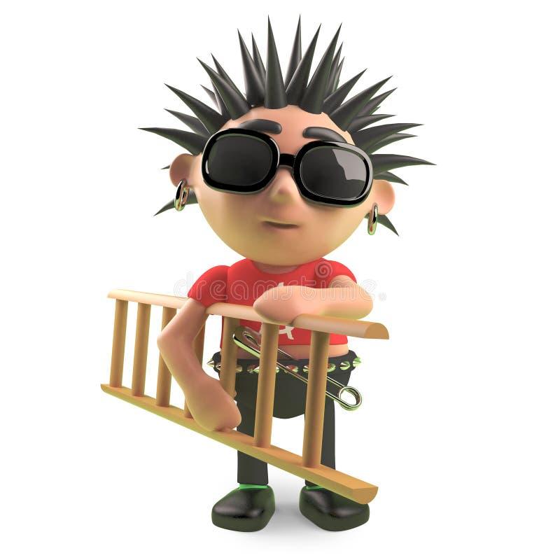 Rocker punk en épi portant une échelle, illustration 3d illustration libre de droits