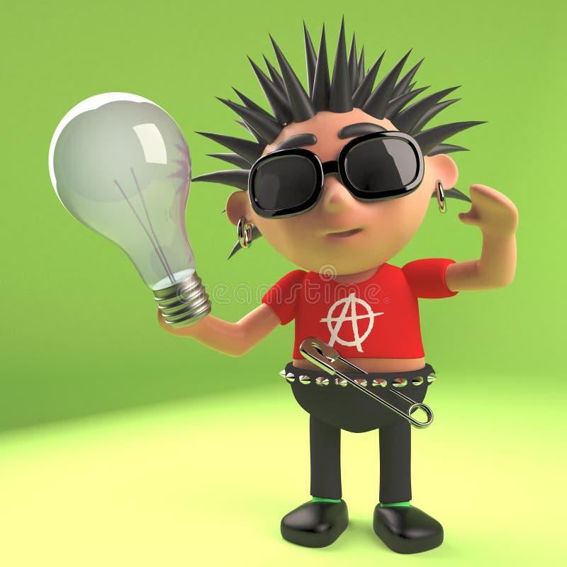 Rocker punk fou tenant une ampoule, illustration 3d illustration libre de droits