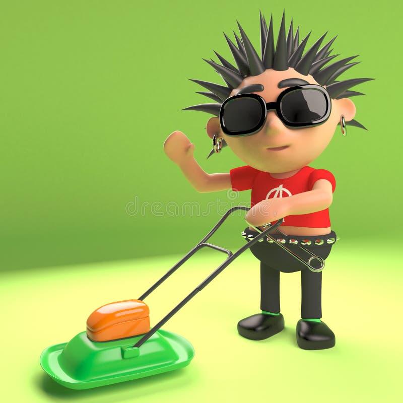 Rocker punk frais fauchant la pelouse avec une tondeuse à gazon, illustration 3d illustration libre de droits