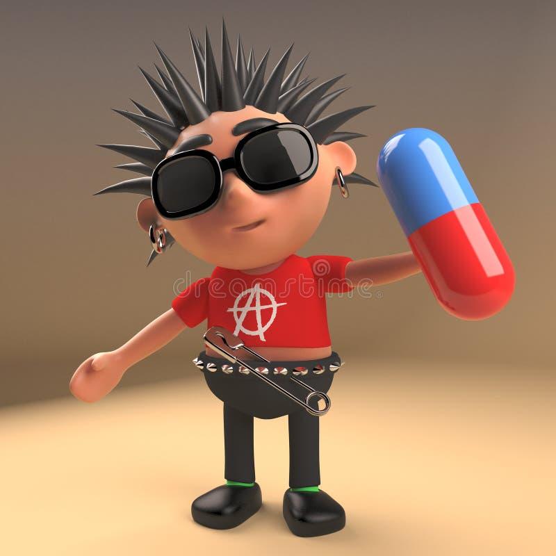Rocker punk idiot tenant une pilule, illustration 3d illustration libre de droits