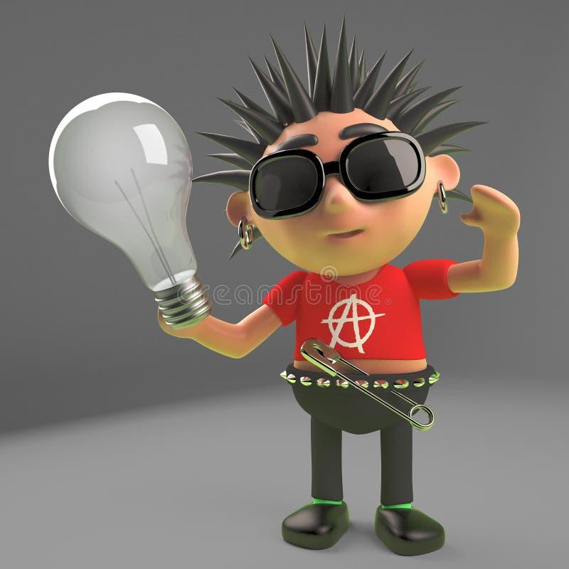 Rocker punk impair tenant une ampoule, illustration 3d illustration de vecteur