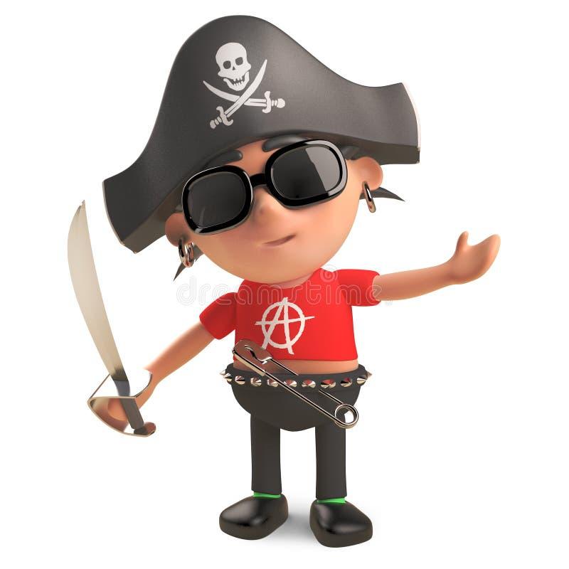 Rocker punk nautique habillé en tant que pirate avec le sabre d'abordage, illustration 3d illustration de vecteur