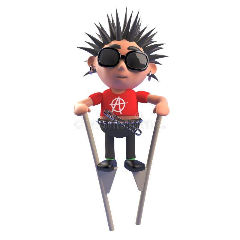 Rocker punk obstiné avec les cheveux en épi utilisant des échasses à obtenir environ, illustration 3d illustration de vecteur