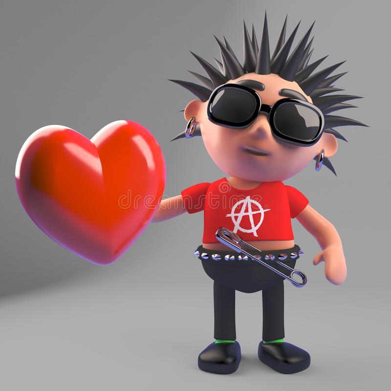 Rocker punk putréfié tenant un coeur rouge parce qu'il est un brave homme romantique vraiment, illustration 3d illustration de vecteur