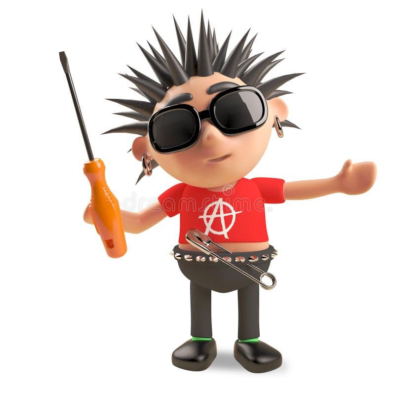 Rocker punk technique avec des cheveux de spikey tenant un tournevis, illustration 3d illustration de vecteur