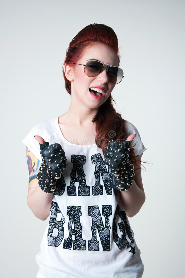 Rocker Shouting Girl Royalty Free Stock Photo