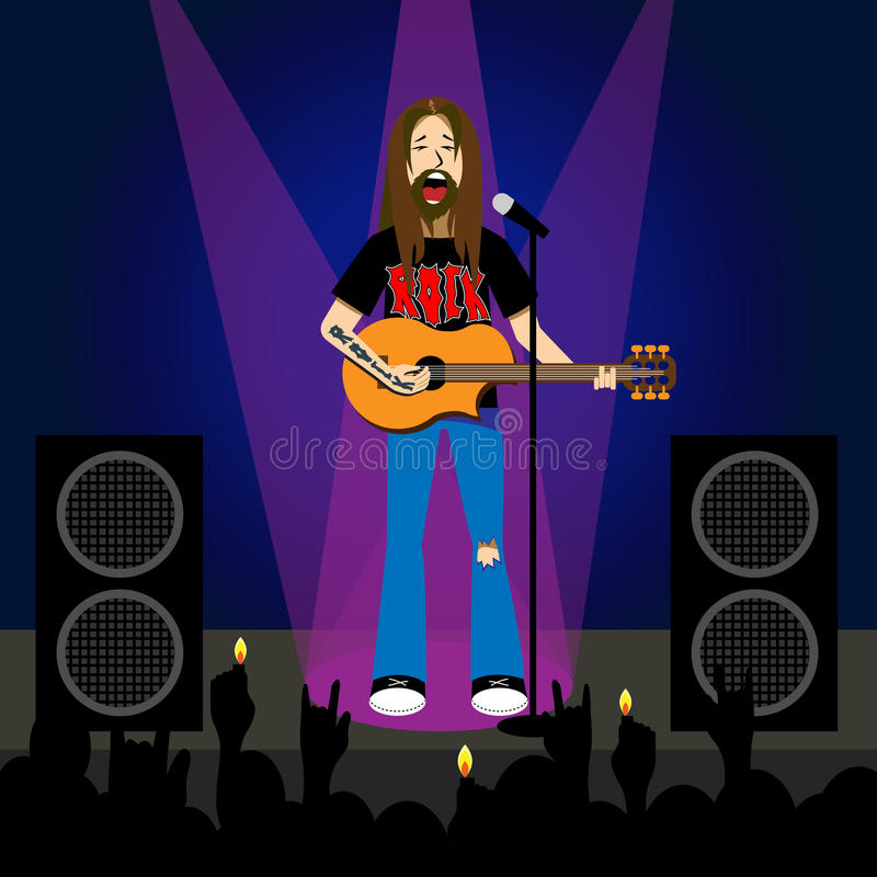 Rocker sings and plays guitar. At rock event vector illustration