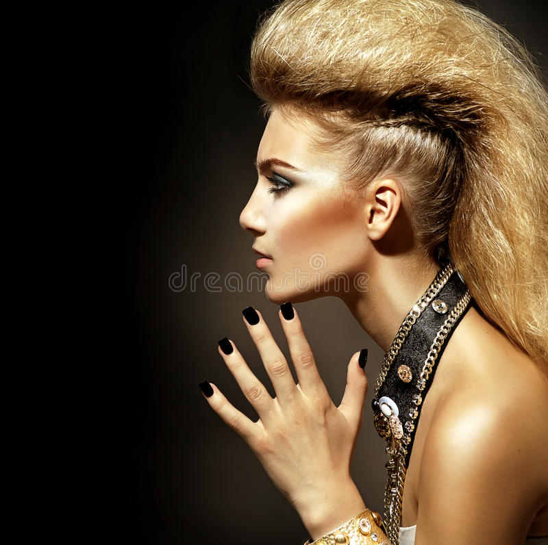 Rocker Style Girl Portrait. Fashion Rocker Style Model Girl Portrait. Hairstyle royalty free stock photography