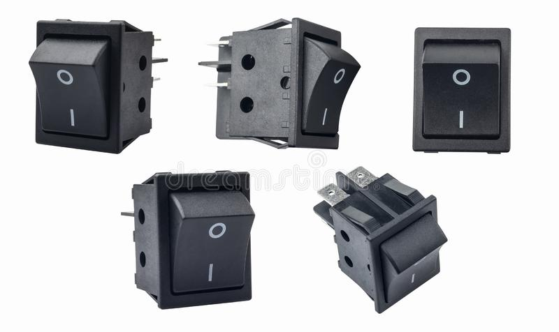 Rocker switch or on/off micro switch on white background. used in surge protectors, display monitors, computer power supplies, and. Many other devices and stock photography