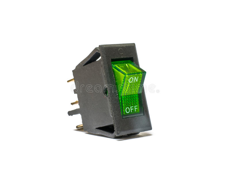 Rocker Switches. Green Rocker Switches with Light stock images