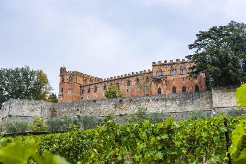 Rockera Brolio och en vingård i Tuscany i Italien royaltyfria foton