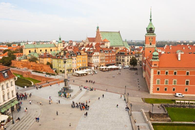 Rockera fyrkanten i den gamla staden av Warszawa, sikt från över arkivfoto