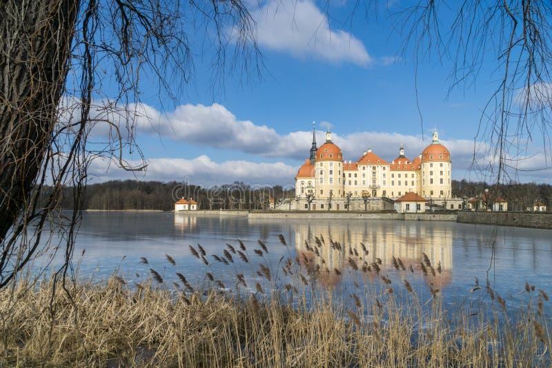Rockera Moritzburg i Dresden med reflexioner i isen i vintern royaltyfria foton
