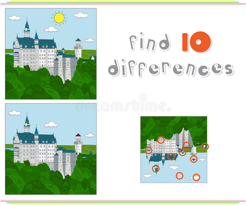 rockera neuschwanstein Lek för ungar: fynd tio skillnader royaltyfri illustrationer