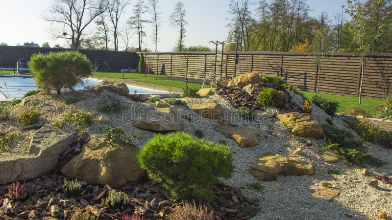 Rockery с большими камнями и различными заводами в саде стоковое фото