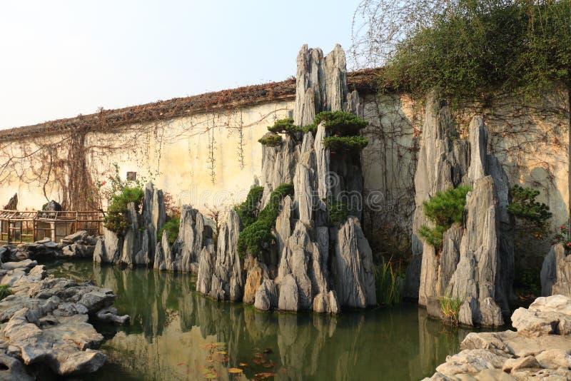 Rockery landscape at liuyuan garden at autumn royalty free stock photo
