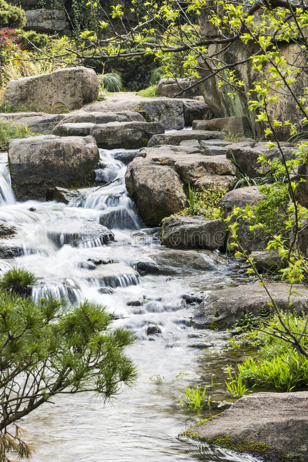 Rockery and Running water stock photography