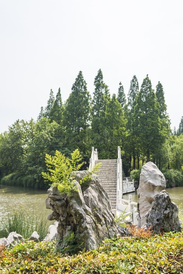 Rockery and stone bridge stock photo