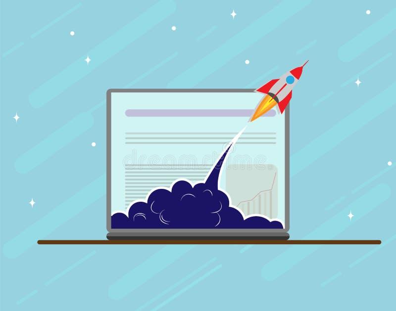Rocket éclate de l'écran de moniteur d'ordinateur portable Drawi conceptuel illustration libre de droits