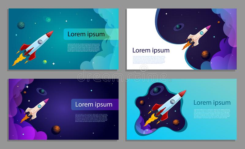 Vector banner or business card. Rocket flying in space. stock illustration