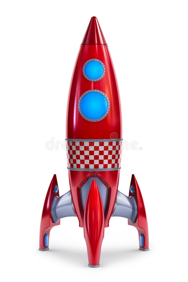 Rocket. 3d illustration of a red rocket isolated on white back royalty free illustration