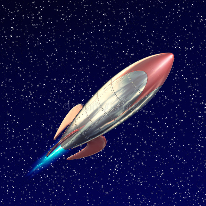 Rocket. A fun stylized rocket on flying through space royalty free illustration