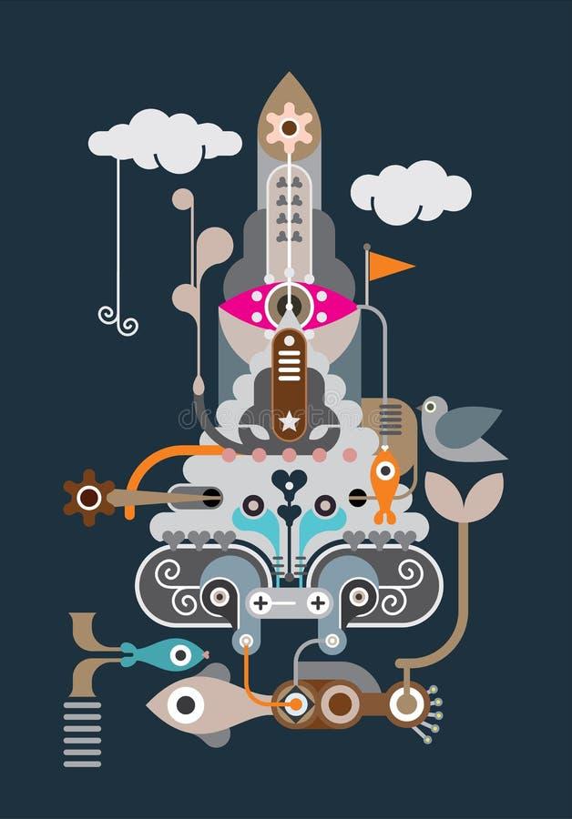 Rocket - abstract vector illustration royalty free illustration