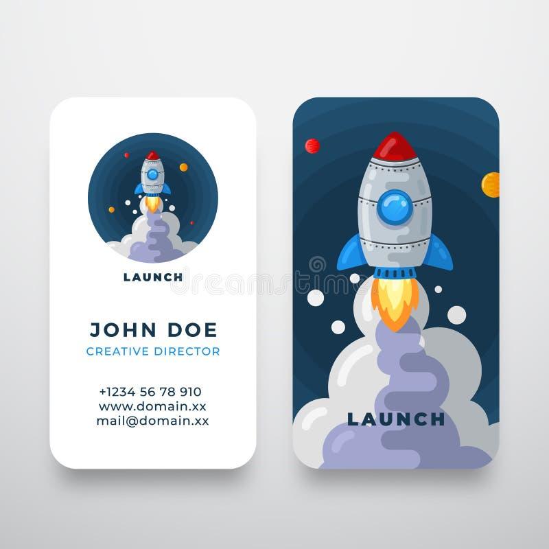 Rocket Abstract Vector Logo y plantilla de la tarjeta de visita Ejemplo del lanzamiento del arte del espacio con los planetas Inm stock de ilustración