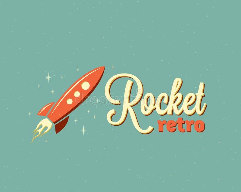 Rocket Abstract Vetora Sign Emblem retro ou Logo Template Nave espacial dos desenhos animados no céu com estrelas Tipografia do v ilustração royalty free