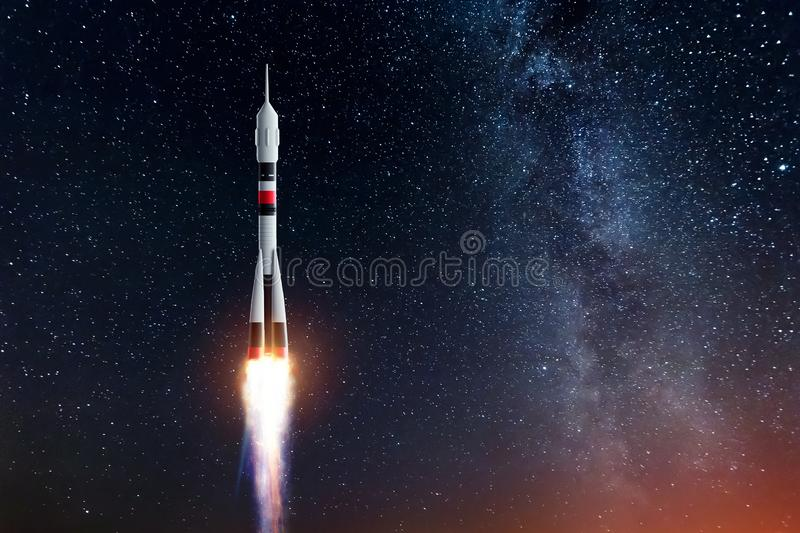 Rocket against the starry sky. The concept of space exploration, satellite launch, flight to the moon, flight to Mars, free vector illustration