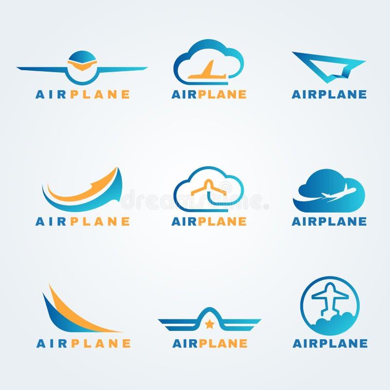 Rocket and air plane logo vector set design stock illustration