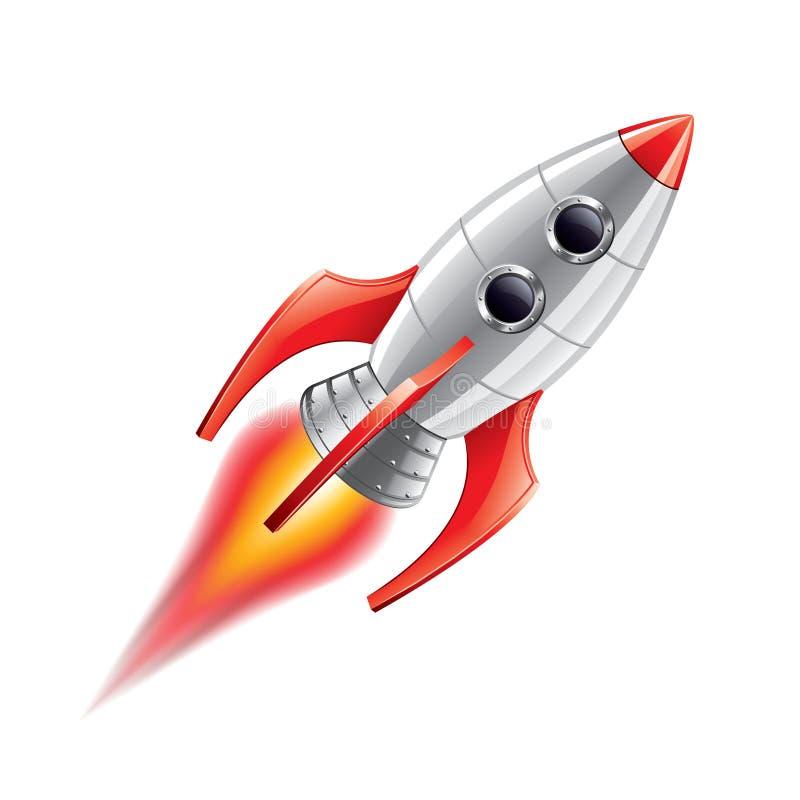 Rocket aisló en el vector blanco ilustración del vector