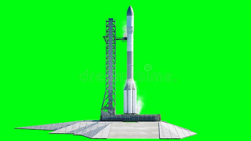 Rocket antes del comienzo Sistema del lanzamiento del espacio Pantalla verde del aislante representación 3d ilustración del vector