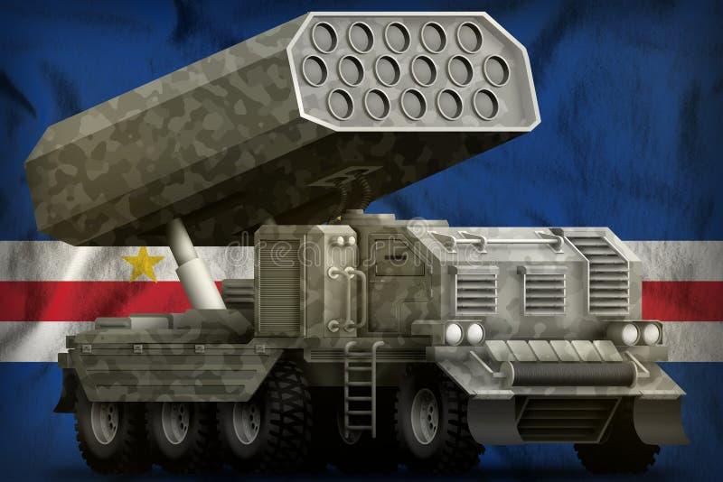 Rocket artillery, missile launcher with grey camouflage on the Cabo Verde national flag background. 3d Illustration vector illustration