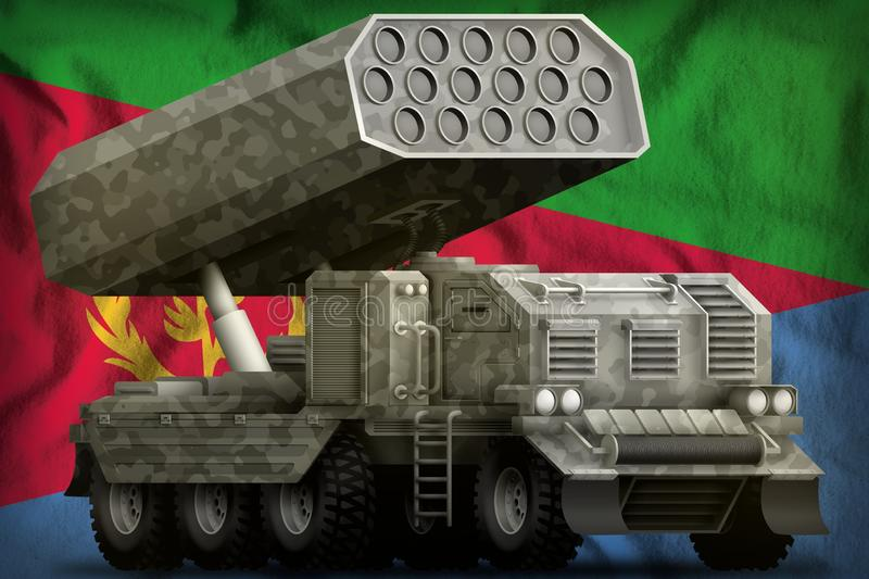 Rocket artillery, missile launcher with grey camouflage on the Eritrea national flag background. 3d Illustration stock illustration
