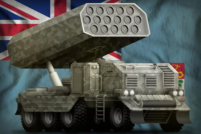 Rocket artillery, missile launcher with grey camouflage on the Fiji national flag background. 3d Illustration royalty free illustration