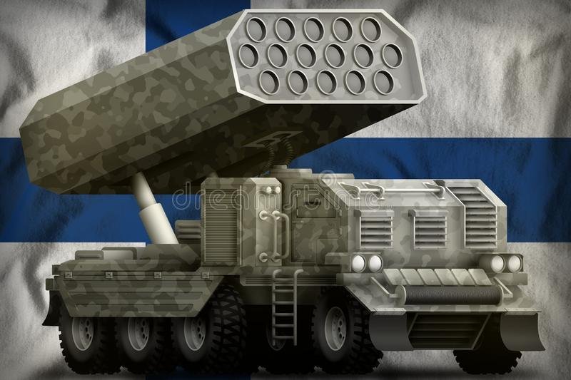 Rocket artillery, missile launcher with grey camouflage on the Finland national flag background. 3d Illustration vector illustration