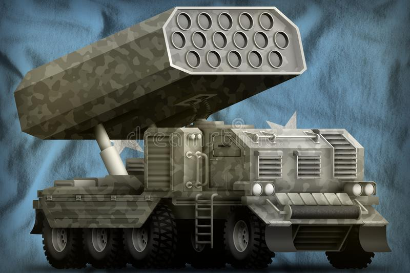 Rocket artillery, missile launcher with grey camouflage on the Micronesia national flag background. 3d Illustration stock illustration