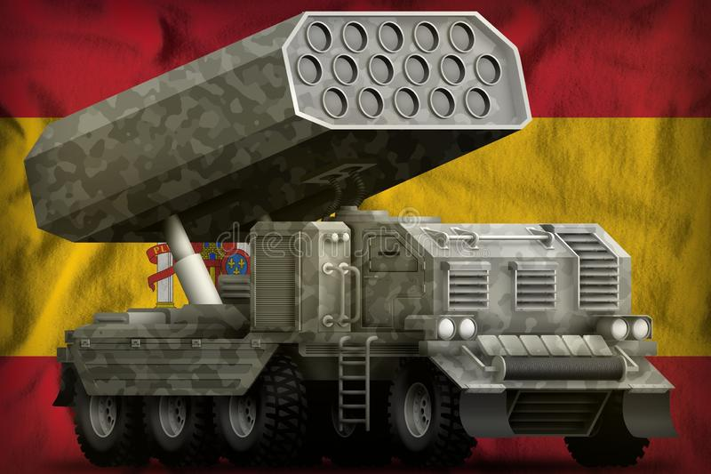 Rocket artillery, missile launcher with grey camouflage on the Spain national flag background. 3d Illustration royalty free illustration