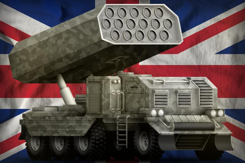 Rocket artillery, missile launcher with grey camouflage on the United Kingdom UK national flag background. 3d Illustration. Rocket artillery, missile launcher vector illustration
