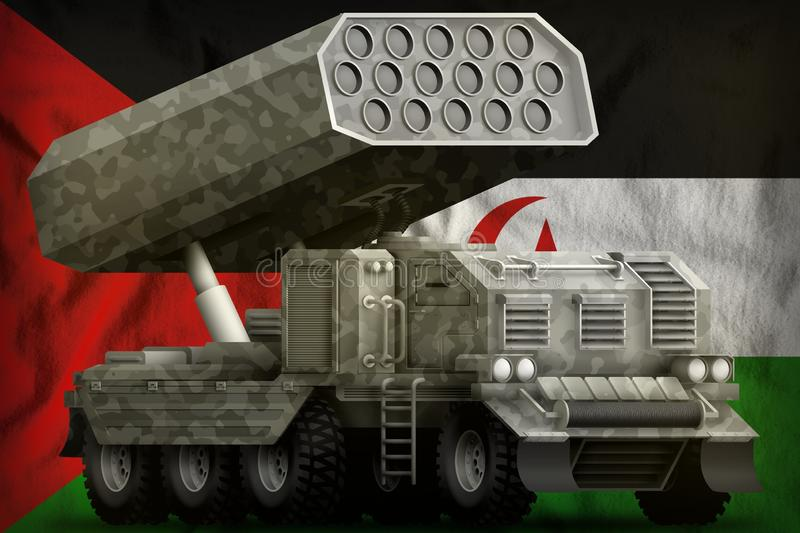 Rocket artillery, missile launcher with grey camouflage on the Western Sahara national flag background. 3d Illustration stock illustration