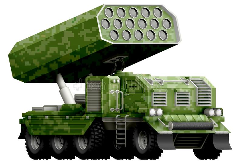 Rocket artillery, missile launcher with pixel green camouflage with fictional design - isolated object on white background. 3d ill. Rocket artillery, missile royalty free illustration