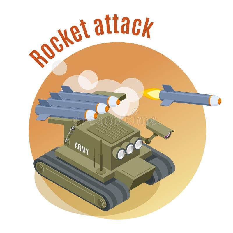 Rocket Attack Isometric Background royaltyfri illustrationer
