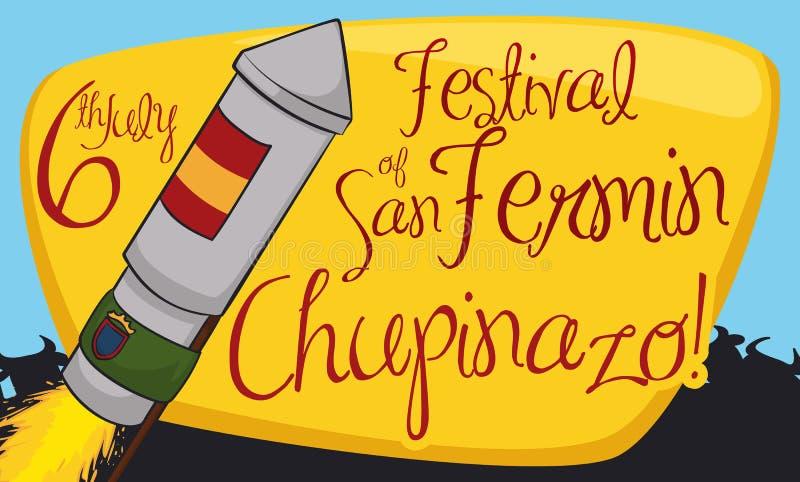 Rocket avec la silhouette de drapeaux, de signe et de taureaux pour San Fermin, illustration de vecteur illustration libre de droits