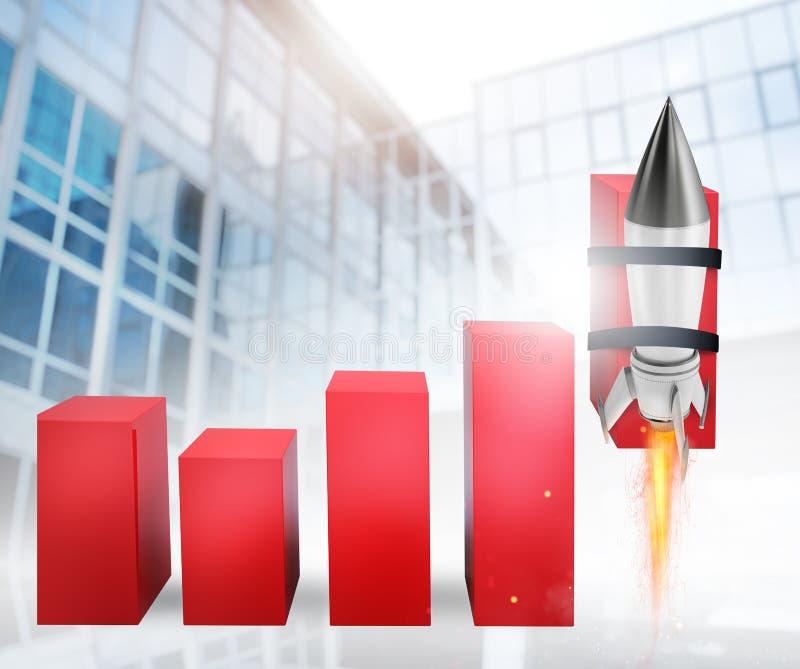 Rocket ayuda a mejorar estadística de negocio para crecer stock de ilustración